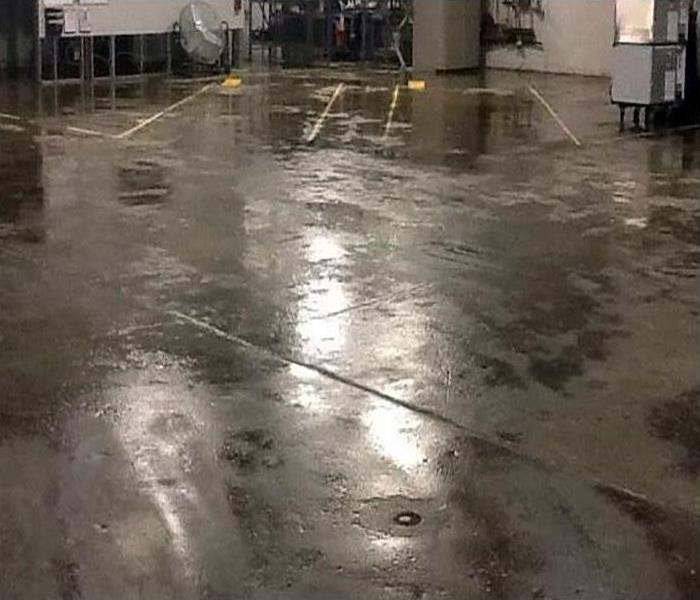 water covering floor of commercial property